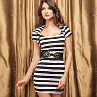 beauty drops belt - 2016 fashion stripe short sleeve slim beauty care one piece dress belt