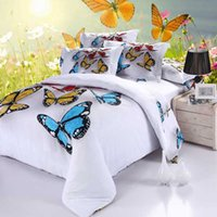 100% Cotton machine oil machine - 3D Oil Painting Fly Butterfly Bedding Sets Cotton Duvet Cover Flatsheet Pillowcase For Queen King Size