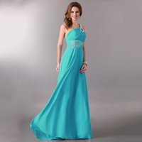 Wholesale Fashion Women Sexy Evening Party Dresses One shoulder Sequin and Beaded A line Long Prom Bridesmaid Dresses Evening Dresses
