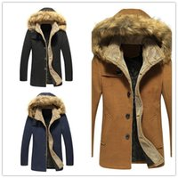 Wholesale 2015 New Fashion Men Wool Coats Long Sleeve Slim Coats Pockets Buttons Single Breasted Fur Hats Hooded Collar Design Warm Wool Coats