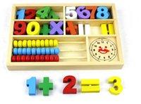 Precio de Cajas de madera relojes-Al por mayor-Digital Matemática Abacus Caja de Aprendizaje Reloj de múltiples funciones de madera juguetes educativos