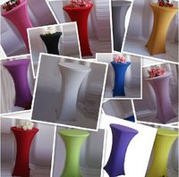 Wholesale 2017 Cocktail table cloth Wedding round table cover Stretch Spandex Banquet table cloths lycra cover via DHL Fedex