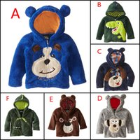 baby winter clothes - 2015 new winter coral velvet Children s Coat cartoon Animal embroidered boys Hoodie outwear for kids clothes baby boy costume HX