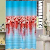 Wholesale 3D Waterproof Polyester Shower Curtain Red crowned Pattern with Plastic Hooks for Home Decoration