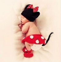 Cheap Free shipping little mickey baby blanket Costume Set checking Children Knit crochet photography props hats Newborn
