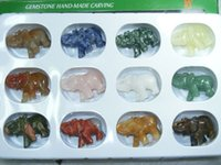 elephant figurines - dozen mix gemstone carving elephant figurine mm