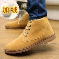 Wholesale 2015 Winter Men Sneakers Casual Super Warm Cotton Padded Matte Suede Ankle Boots British Style Snow Martin Boots Free Ship a93