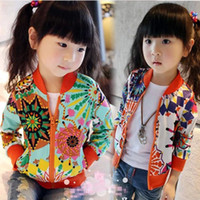 Wholesale Colorful sun flower jacket Spring baby girl multicolor sun flower zipper coat floral air conditioning sweaters