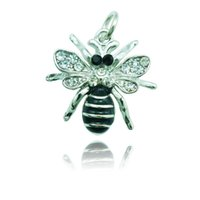 bee slides - High Quality Fashion Charms White Rhinestone Black Alloy Bee Animals Pendants DIY Necklace Jewelry Accessories DZD1325