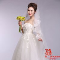 atmosphere single - High quality fine atmosphere bride wedding accessories single lace embroidery edge meters long trailing veil HY00163