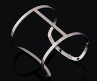 Cheap New 2015 Punk Design Gold Silver Color Simple Hollow Out Wide Cuff Bracelets Bangles Costume Jewelry For Women High Quality nz