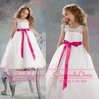 Wholesale 2015 New Organza Lace bodice Sheer Christmas Plus Size Flower Girls Dresses White with Azalea Ribbon A line Floor Length Girls Wedding Gown