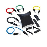 Wholesale By DHL Set Latex ABS Tube Workout Resistance Bands Exercise Gym Yoga Fitness Sets Outdoor Sports Supplies
