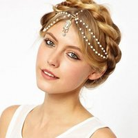Wholesale 2015 New Bohemian Women s Peal Tassel Head Chain Pearls Beaded Water Drop Bridal Tiaras Hair Accessories