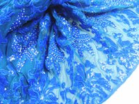 lace material - Wonderful royal blue embroidery French lace fabric with sequins stones African net lace material AN33 yards pc