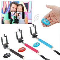2 For iPod Touch Computer Extendable Handheld Self portrait Monopod selfie stick Photograph Bluetooth Shutter Camera Remote Control monopod + shutter + holder DHL FRE