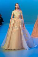 Cheap 2014 Elie Saab Luxury vestidos de fiesta Gold Sequins Flowers Crystals Short Sleeves Evening Prom Dress Ball Gown Custom Made