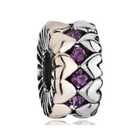 biagi bracelets and charms - Valentine s Day Purple Crystals Gold and Silver Muitiple Raw Heart Charm European Bead Fit Pandora Chamilia Biagi Bracelet