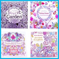 Wholesale 4 Designs Secret Garden Animal Kingdom Fantasy Dream and Enchanted Forest Pages Kids Adult Painting Colouring Books DHL