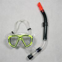 diving equipment - Fishing Swimming Scuba Diving Equipment Dive Mask Dry Snorkel Set Yellow Red Black Blue