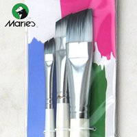 angled paint brush - Marie s Nylon Angle Brushes For Artist Good Elastic Angular Flate Paintbrush Set A B for Acrylic Painting Art Supplies