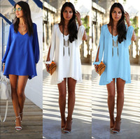 Wholesale New Fashion Women Sexy Chiffon Dresses Long Sleeve V Neck Dress Loose Irregular Mini Dresses Casual Vestidos Plus Size W3379