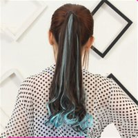 human hair ponytail - Human Hair Extentions Colorful Ponytail Dyeing Ombre Color Long Curly Ponytail G0030 Hot Sale