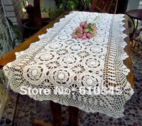 Wholesale Hot selling cotton hand knitting Crochet table runner x210cm Table flag table cloth Snow White color TC005