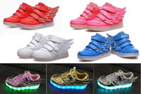 red wing shoes - 7COLOR Children LED shoes USB charging shoe colorful luminous flash velcro backing shoe LACES wings