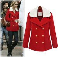 Cheap HOT new women winter Christmas red colour Double-breasted Yang Gaomao big Lapel Woollen overcoat women coat N136