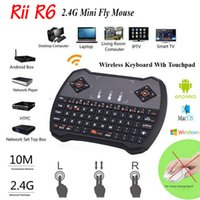 Wholesale Wireless Mini Keyboard Ghz RII R6 Fly Air Mouse Gamepad Remote Control for Android TV Box Goolge IPTV Smart Mini PC HTPC XBox