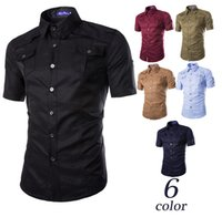 america curl - Men Shirt New Arrival Summer Style Europe And America Casual Personality Pocket Curling More Short Sleeve Shirt Men
