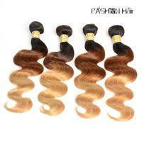 Cheap Ombre Brazilian Body Wave Virgin Hair T1b 4 27 Human Hair Weaves 3 Tone Hair Weft Indian Peruvian Malaysian Cambodian Remy Hair Bundles
