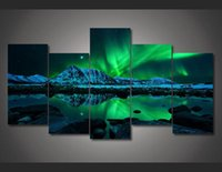 Wholesale 5 Piece Framed Printed aurora borealis Painting on canvas room decoration print poster picture canvas wall art modern