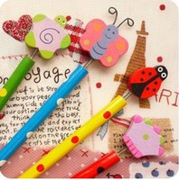 Wholesale Wooden Cartoon Pencil Stationery Student Supplies Butterfly Beetle Flower