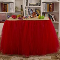 Wholesale Fashion Home Decor Table Skirt Wedding Holiday Festival Party Tablecloth Solid Tulle Tutu Table Skirt JM0052