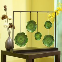 bathroom decorating accessories - Lotus leaf ornaments home accessories modern Chinese TV cabinet office desktop furnishings soft assembly decorated hotel