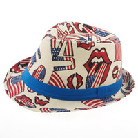 baby loves jazz - Fashion national flag Love USA KIDS canvas Hat Baby canvas Cowboy Hat Boys Girls Fedoras Jazz cap