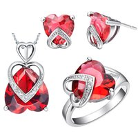Wholesale The best Valentine s Day gift red crystal love heart necklace earring ring Sets