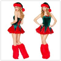 Wholesale Sexy Legging Outfits - Sexy Christmas Costumes For Women Naughty Elf Costume With Leg Warmers Set Strapless Mini Dress Outfit C1579