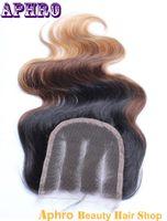 Cheap Three Part Ombre Black Brown Blonde Brazilian Original Hair Body Wave Silk Base Lace Frontal Closure 130%Density Human Hair Closure Silk Top