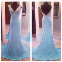 Cheap Real Image ! V-neck Mermaid Light Sky Blue Beaded Sequins Backless Evening Gowns Forma Teen's Pageant Prom Dresses