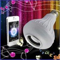 Wholesale Wireless bluetooth W LED speaker bulb Audio Speaker E27 RGBW music playing Lighting With Keys IR remote Control free ship
