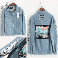 bf jeans - Vintage Washed Denim Destroyer Embroidery Letters Jeans Loose BF Back Patch Denim Jacket Coats Autumn Women Harajuku Style Outerwear