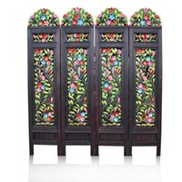 Wholesale Thai handicrafts home decorative hand painted carved wood screen porch rustic Southeast Asia
