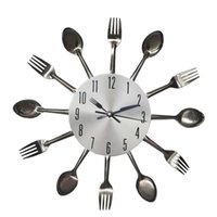 Wholesale The new creative fashion clock personality kitchen wall clock spoon fork fork clock living room bedroom wall clock