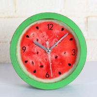 Wholesale 2015 New Arrival Fruit watermelon Alarm Clock Green Colors Cute Cartoon Clock