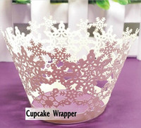 cupcake cake boxes - Laser Cut Snowflakes Styles Baking Cupcake Wrapper Cake Liners Decorating Boxes Cup Tools Craft Supplies For Birthday Christmas Decoration