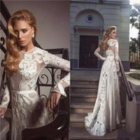 Wholesale Pearl Wedding Dresses Long Sleeves Illusion Jewel Neckline Chiffon With Applique Beach Evening Gowns New Design Elegant