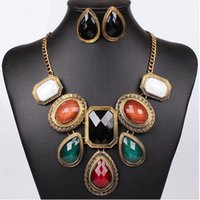 Wholesale MN528169 Anti Gold Plated Colorful Resin Pendant Chunky Necklace Jewelry Jewelry Set for Women